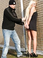 Blond gets captured, roped, cleave-gagged and hogtied