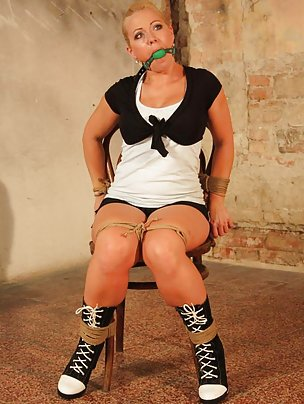 Veronica chair-tied ball-gagged, drooling a river