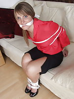 Beauties tied up and gagged in their sexy blouses