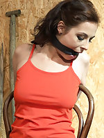 Antonia chair-tied, cleave-gagged, stripped, tit-grabbed, vibed