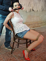 Corazon chair-tied, cleave-gagged, tit-grabbed, tit-slapped