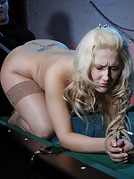 Blonde roped, pegged, dildoed and used
