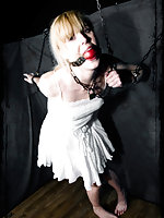 Blonde gets shackled and ball-gagged
