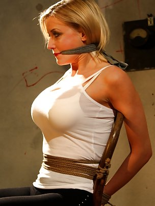 Victoria chair-tied, cleave-gagged, tit-grabbed