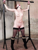 Denisa roped and ball-gagged, whipped and dildoed