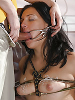 Brunette cutie roped, punished and fucked