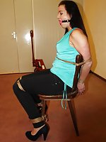 Lena chair-tied, ball-gagged, crying out for help