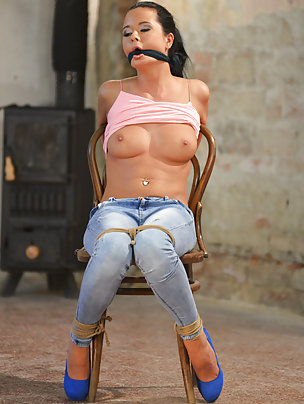 Mia chair-tied, cleave-gagged, tit-grabbed